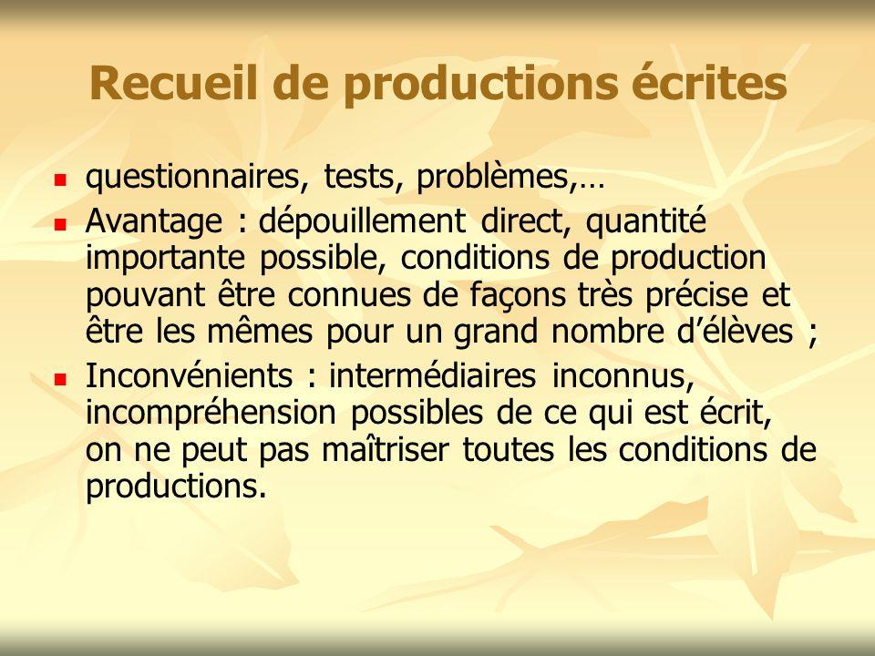 Recueil de productions écrites questionnaires, tests, problèmes,… Avantage : dépouillement direct, quantité importante possible, conditions de product