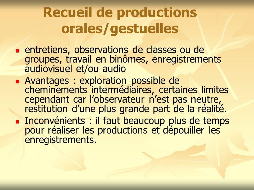Recueil de productions orales/gestuelles entretiens, observations de classes ou de groupes, travail en binômes, enregistrements audiovisuel et/ou audi