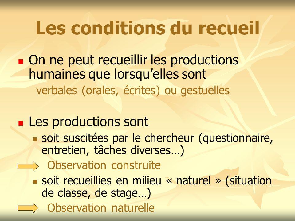 Les conditions du recueil On ne peut recueillir les productions humaines que lorsquelles sont verbales (orales, écrites) ou gestuelles Les productions