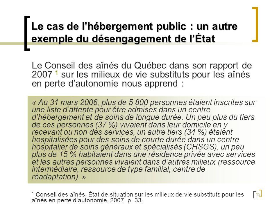 15 Le Conseil des aînés du Québec dans son rapport de 2007 1 sur les milieux de vie substituts pour les aînés en perte dautonomie nous apprend : « Au