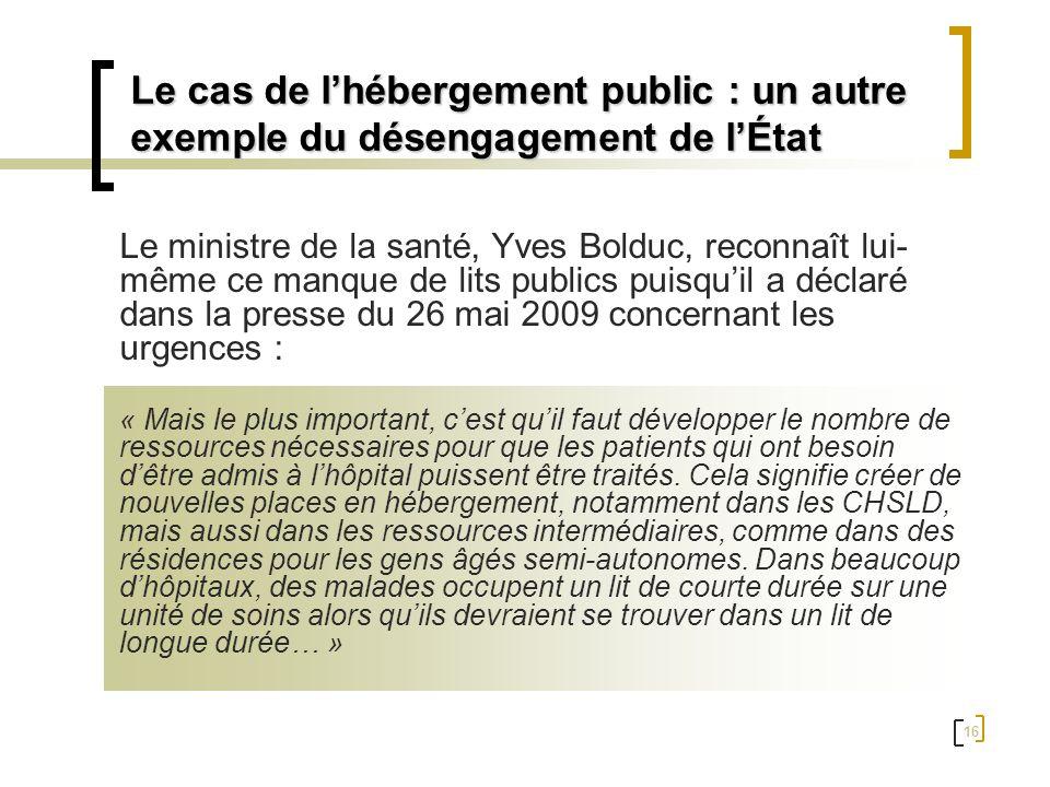 16 Le ministre de la santé, Yves Bolduc, reconnaît lui- même ce manque de lits publics puisquil a déclaré dans la presse du 26 mai 2009 concernant les