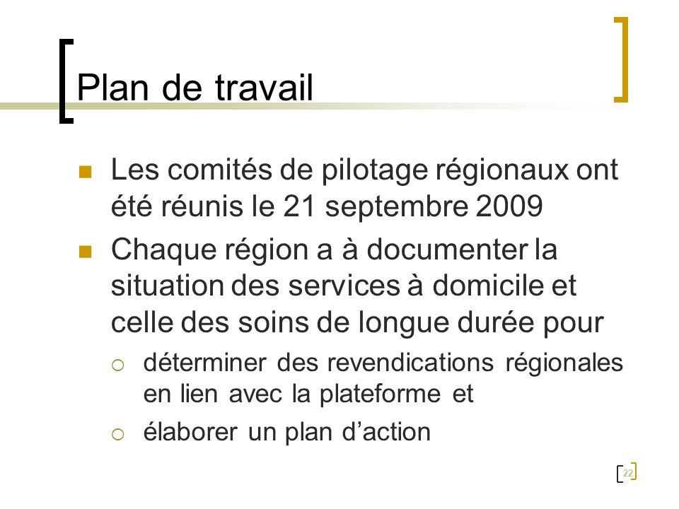 22 Plan de travail Les comités de pilotage régionaux ont été réunis le 21 septembre 2009 Chaque région a à documenter la situation des services à domi