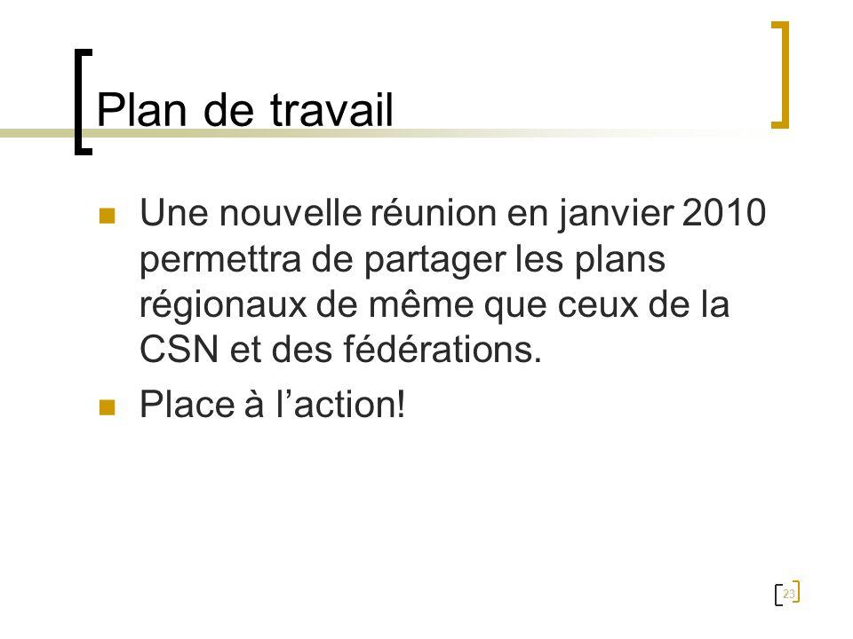 23 Plan de travail Une nouvelle réunion en janvier 2010 permettra de partager les plans régionaux de même que ceux de la CSN et des fédérations. Place