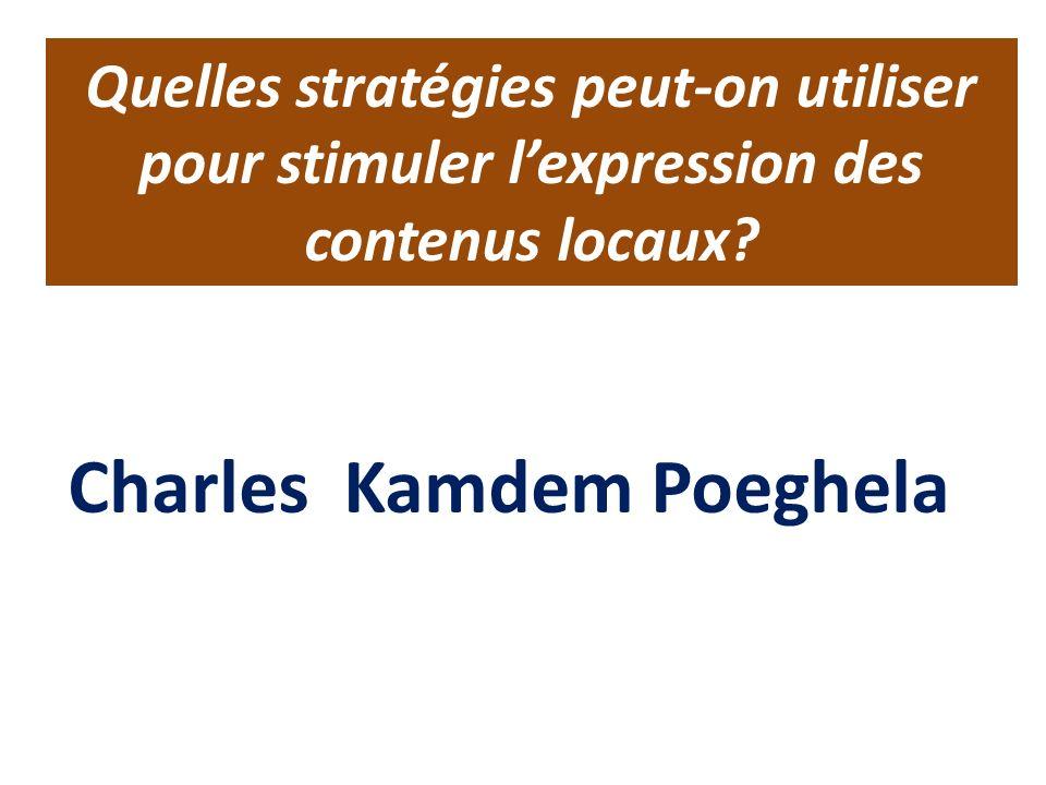 Quelles stratégies peut-on utiliser pour stimuler lexpression des contenus locaux.