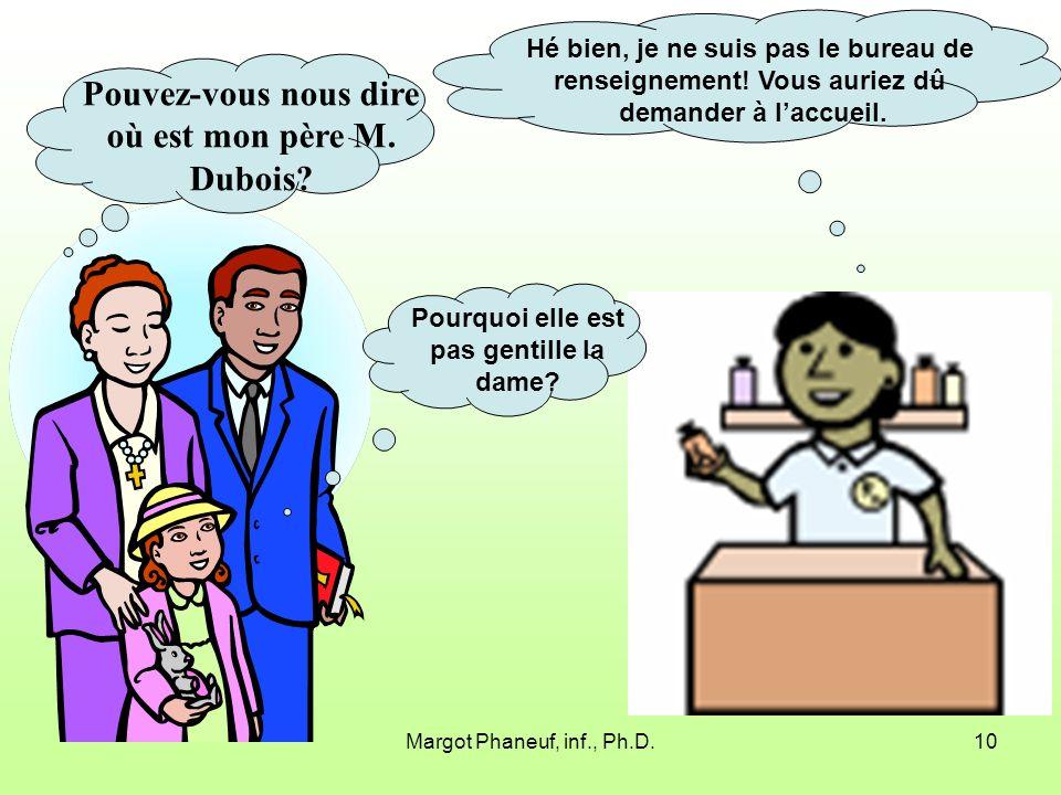 Margot Phaneuf, inf., Ph.D.10 Pouvez-vous nous dire où est mon père M.