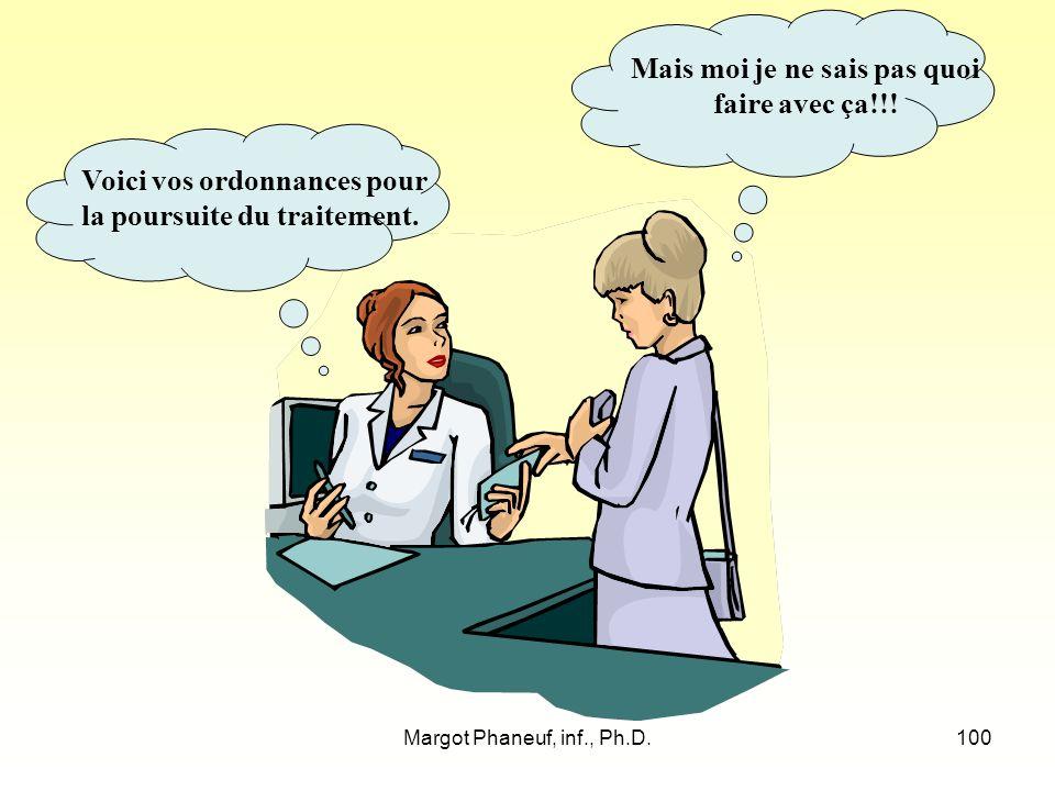 Margot Phaneuf, inf., Ph.D.100 Voici vos ordonnances pour la poursuite du traitement.