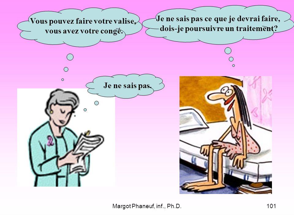 Margot Phaneuf, inf., Ph.D.101 Vous pouvez faire votre valise, vous avez votre congé.