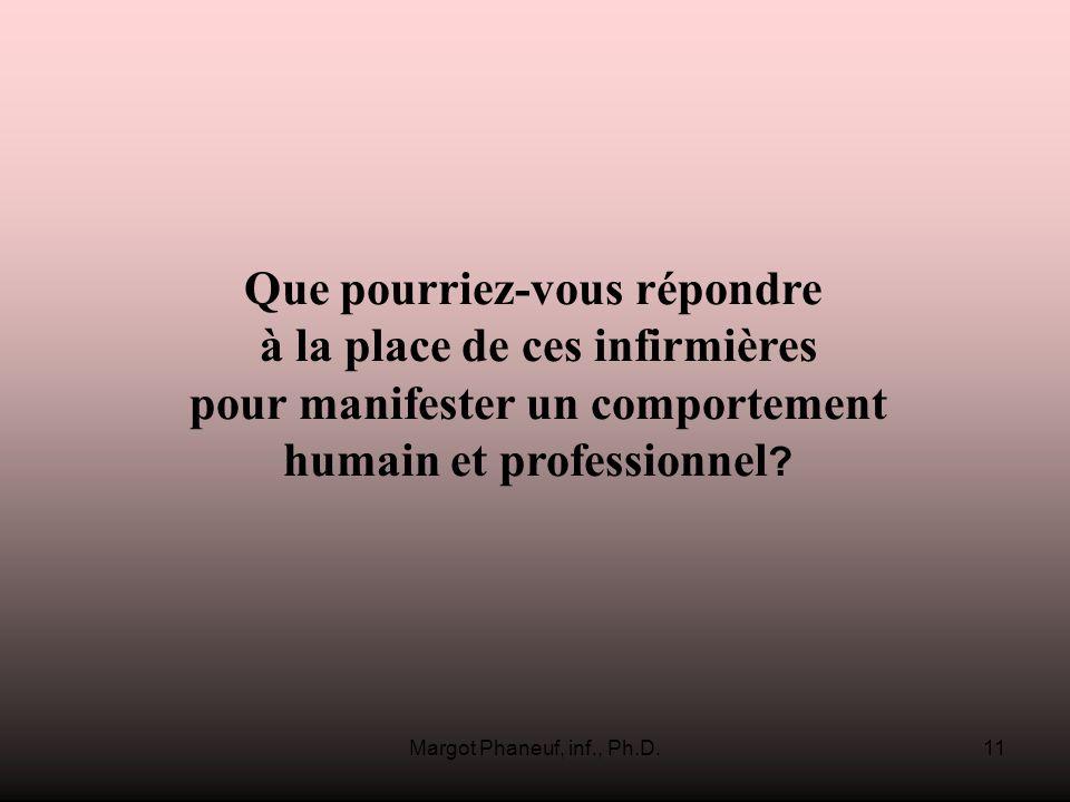 Margot Phaneuf, inf., Ph.D.11 Que pourriez-vous répondre à la place de ces infirmières pour manifester un comportement humain et professionnel ?