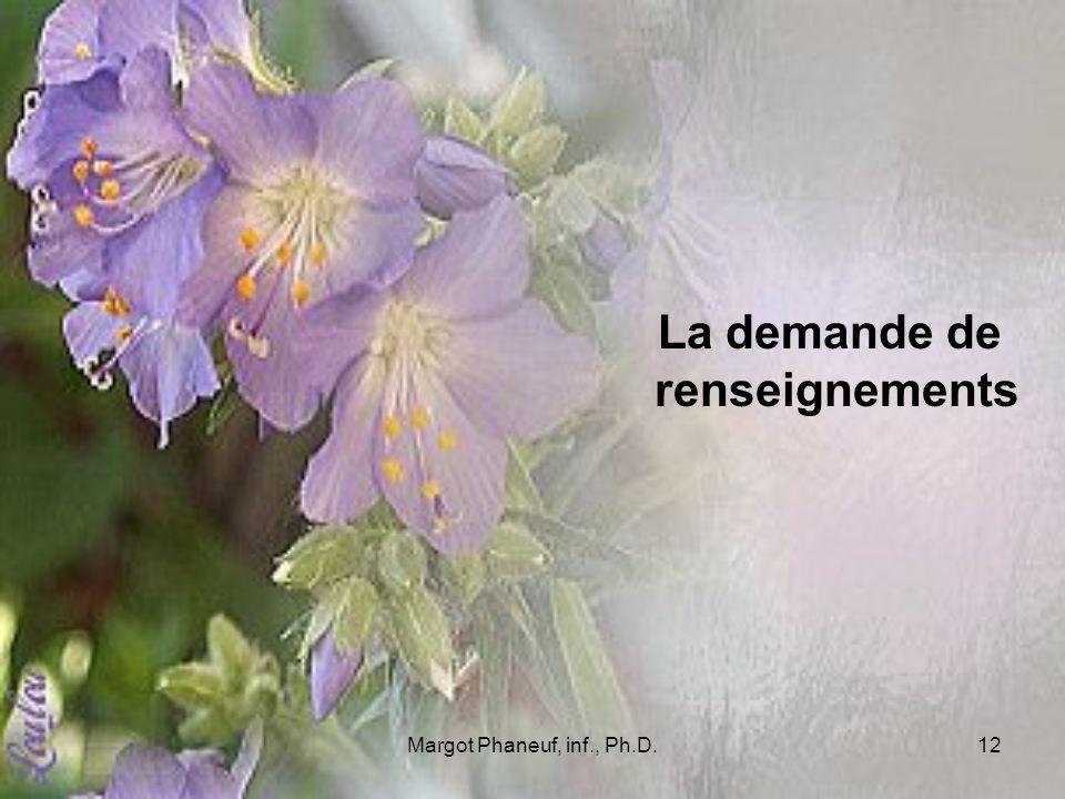 Margot Phaneuf, inf., Ph.D.12 La demande de renseignements