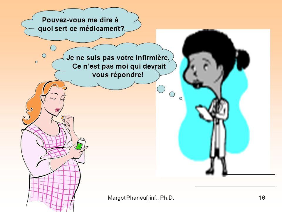 Margot Phaneuf, inf., Ph.D.16 Pouvez-vous me dire à quoi sert ce médicament.