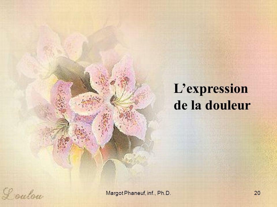 Margot Phaneuf, inf., Ph.D.20 Lexpression de la douleur