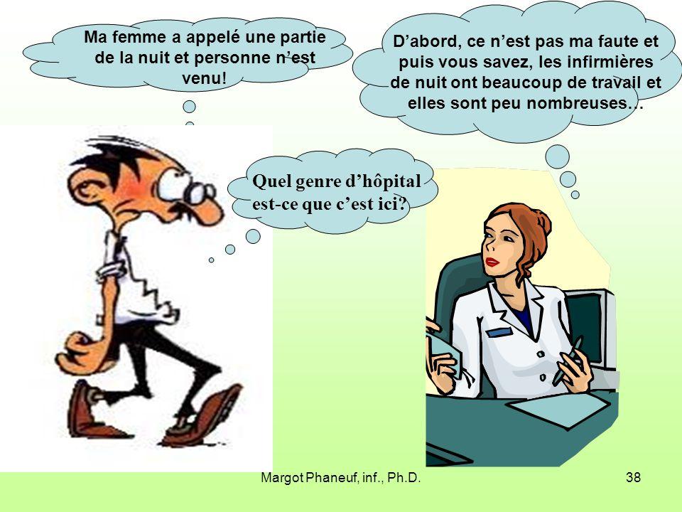 Margot Phaneuf, inf., Ph.D.38 Dabord, ce nest pas ma faute et puis vous savez, les infirmières de nuit ont beaucoup de travail et elles sont peu nombreuses… Ma femme a appelé une partie de la nuit et personne nest venu.