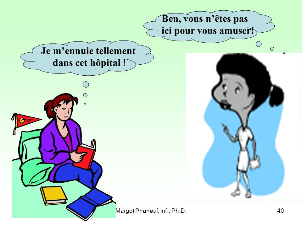 Margot Phaneuf, inf., Ph.D.40 Je mennuie tellement dans cet hôpital .