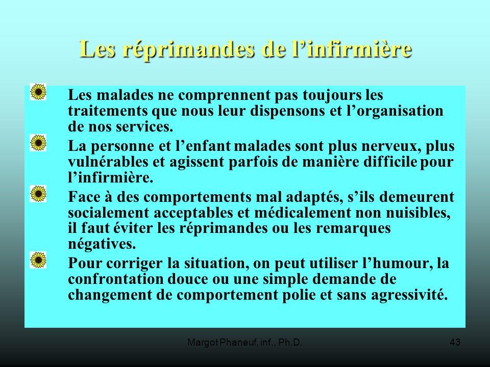 Margot Phaneuf, inf., Ph.D.43 Les réprimandes de linfirmière Les malades ne comprennent pas toujours les traitements que nous leur dispensons et lorganisation de nos services.