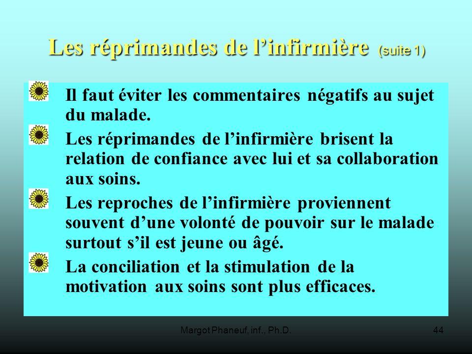 Margot Phaneuf, inf., Ph.D.44 Les réprimandes de linfirmière (suite 1) Il faut éviter les commentaires négatifs au sujet du malade.