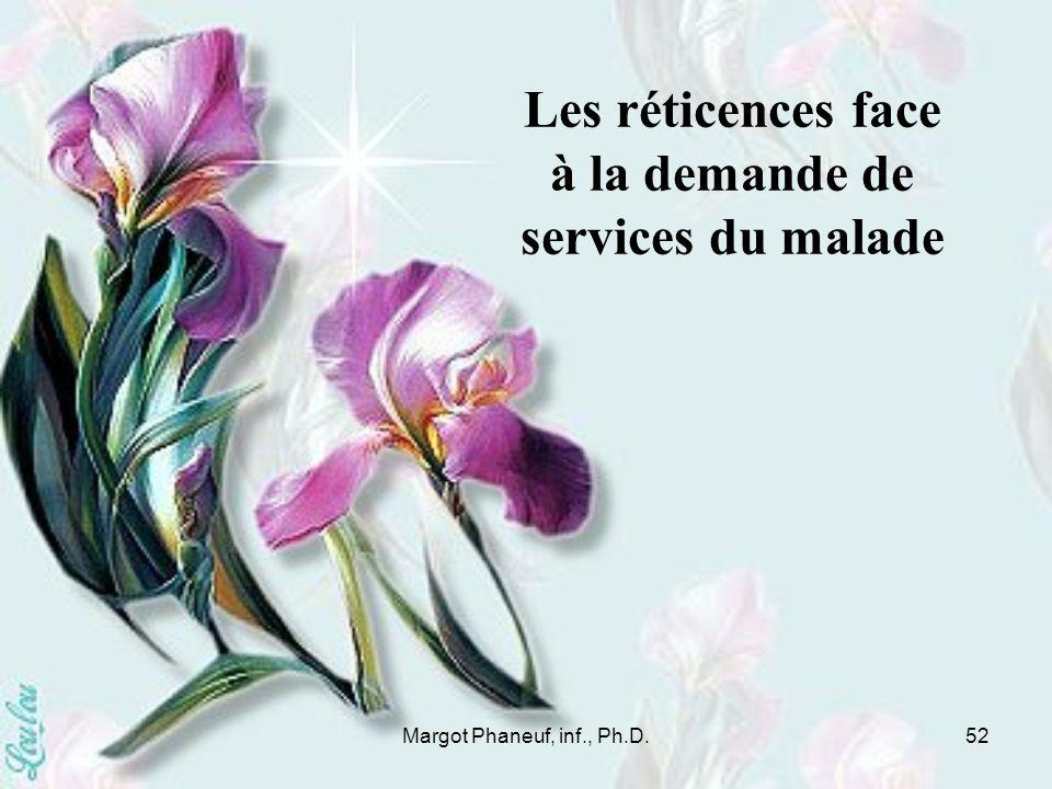 Margot Phaneuf, inf., Ph.D.52 Les réticences face à la demande de services du malade