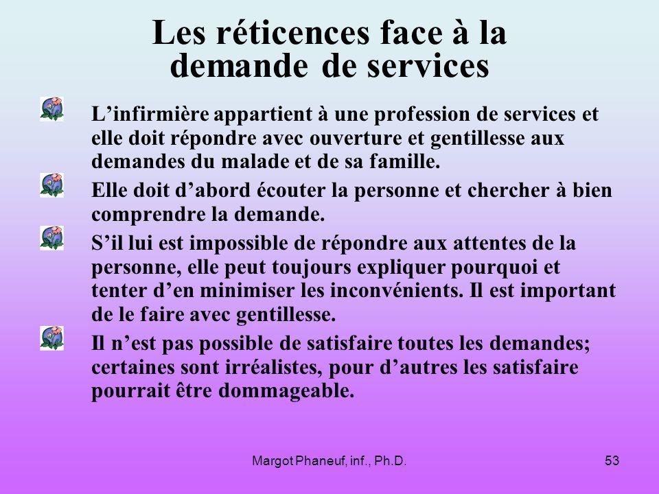 Margot Phaneuf, inf., Ph.D.53 Les réticences face à la demande de services Linfirmière appartient à une profession de services et elle doit répondre avec ouverture et gentillesse aux demandes du malade et de sa famille.