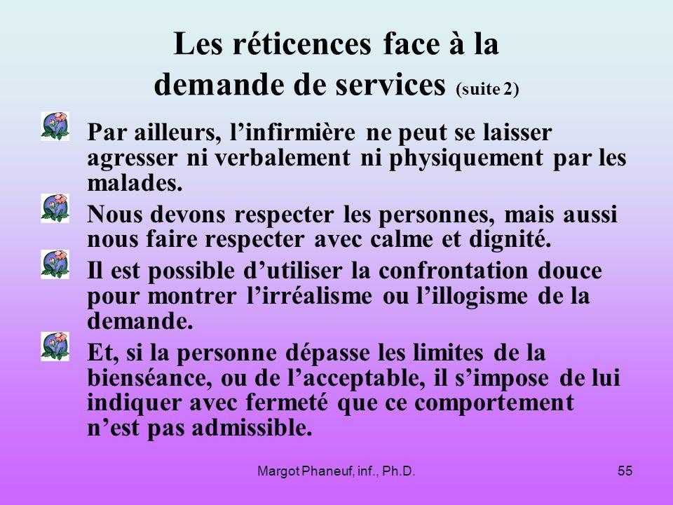 Margot Phaneuf, inf., Ph.D.55 Les réticences face à la demande de services (suite 2) Par ailleurs, linfirmière ne peut se laisser agresser ni verbalement ni physiquement par les malades.