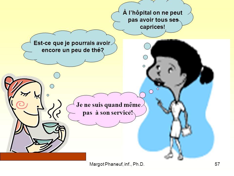 Margot Phaneuf, inf., Ph.D.57 Est-ce que je pourrais avoir encore un peu de thé.