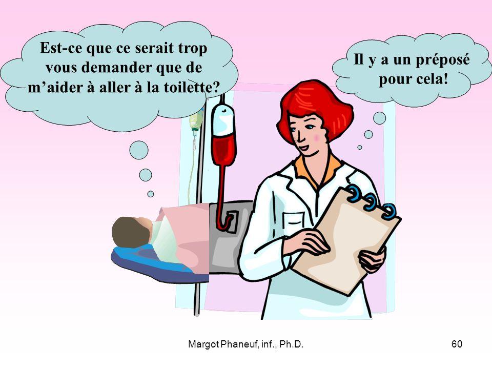 Margot Phaneuf, inf., Ph.D.60 Est-ce que ce serait trop vous demander que de maider à aller à la toilette.