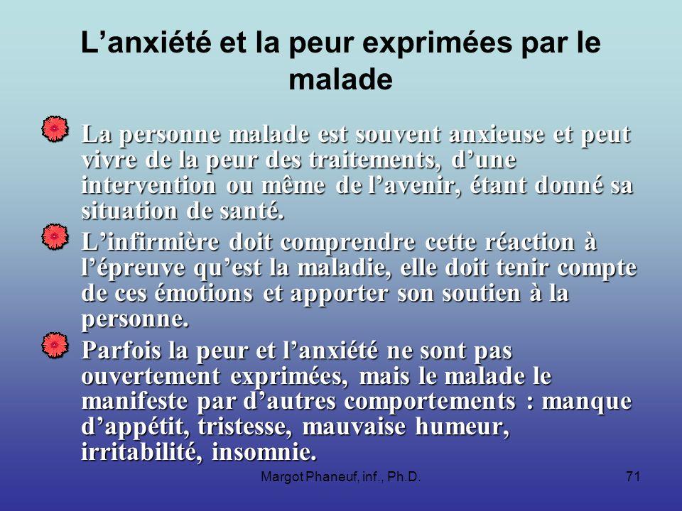 Margot Phaneuf, inf., Ph.D.71 Lanxiété et la peur exprimées par le malade La personne malade est souvent anxieuse et peut vivre de la peur des traitements, dune intervention ou même de lavenir, étant donné sa situation de santé.