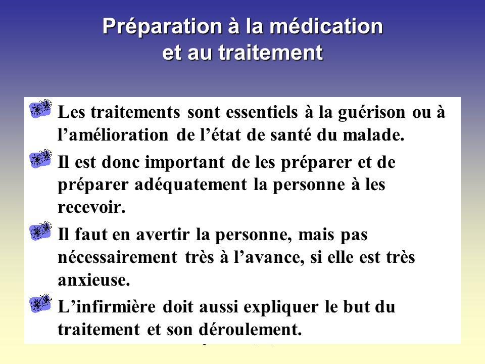 Margot Phaneuf, inf., Ph.D.81 Préparation à la médication et au traitement Les traitements sont essentiels à la guérison ou à lamélioration de létat de santé du malade.