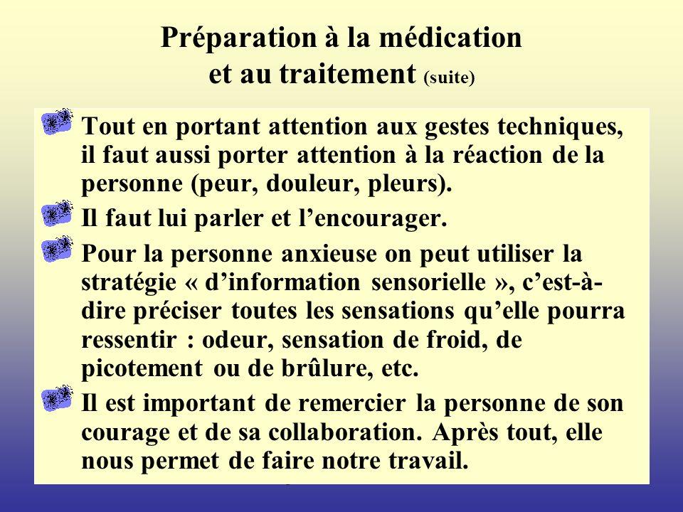 Margot Phaneuf, inf., Ph.D.82 Préparation à la médication et au traitement (suite) Tout en portant attention aux gestes techniques, il faut aussi porter attention à la réaction de la personne (peur, douleur, pleurs).