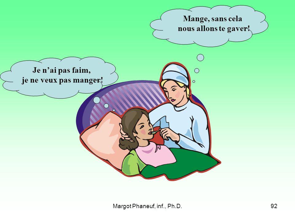 Margot Phaneuf, inf., Ph.D.92 Je nai pas faim, je ne veux pas manger.