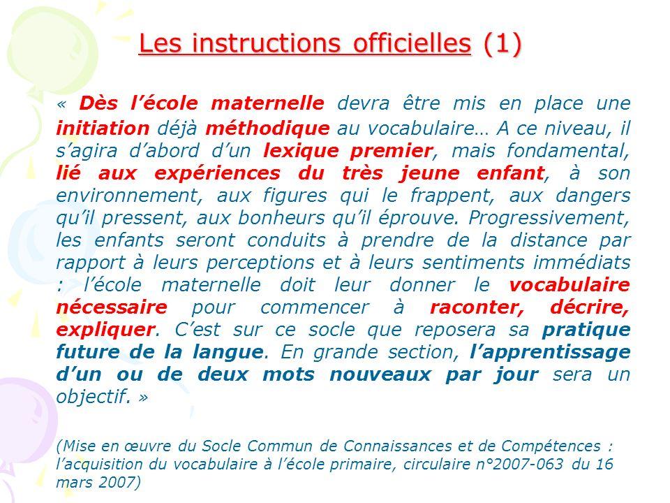 Les instructions officielles (1) « Dès lécole maternelle devra être mis en place une initiation déjà méthodique au vocabulaire… A ce niveau, il sagira