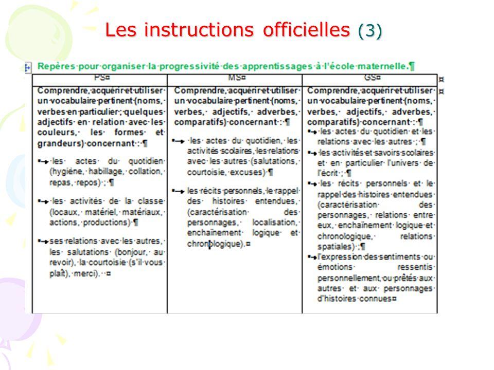 Les instructions officielles (3)