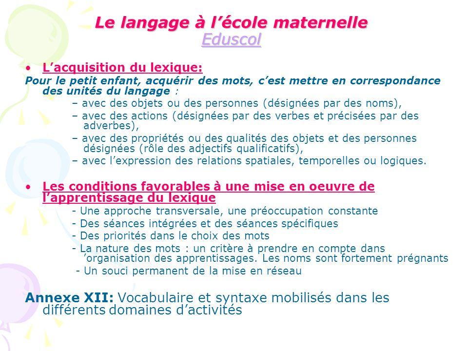 Le langage à lécole maternelle Eduscol Eduscol Lacquisition du lexique: Pour le petit enfant, acquérir des mots, cest mettre en correspondance des uni