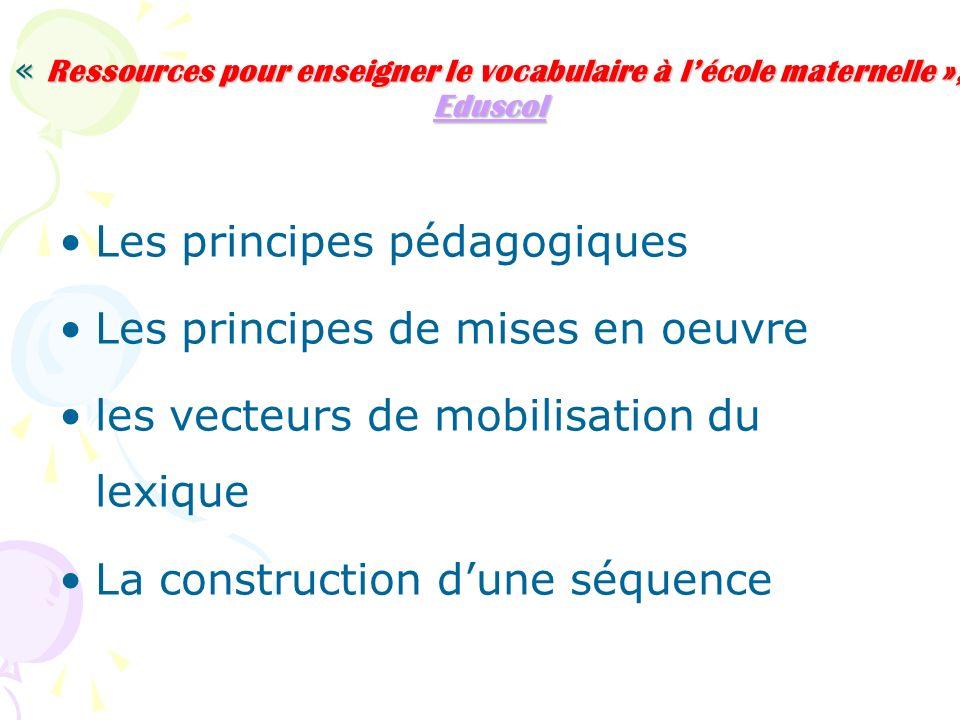 « Ressources pour enseigner le vocabulaire à lécole maternelle », Eduscol Eduscol Les principes pédagogiques Les principes de mises en oeuvre les vecteurs de mobilisation du lexique La construction dune séquence