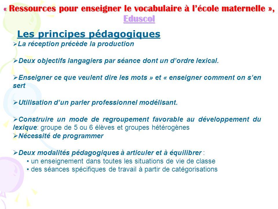 « Ressources pour enseigner le vocabulaire à lécole maternelle », Eduscol Eduscol Les principes pédagogiques La réception précède la production Deux o