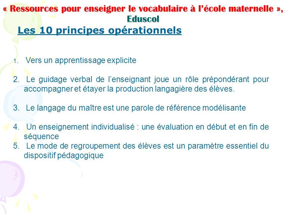 « Ressources pour enseigner le vocabulaire à lécole maternelle », Eduscol Les 10 principes opérationnels 1. Vers un apprentissage explicite 2. Le guid