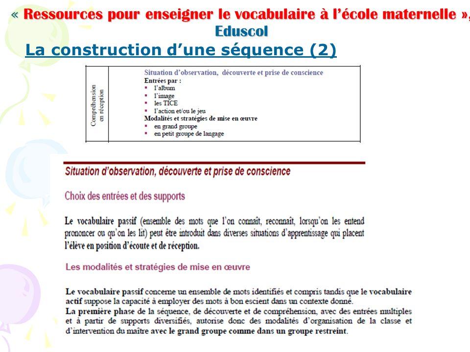 « Ressources pour enseigner le vocabulaire à lécole maternelle », Eduscol La construction dune séquence (2)