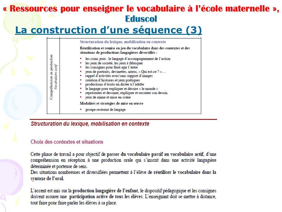 « Ressources pour enseigner le vocabulaire à lécole maternelle », Eduscol La construction dune séquence (3)