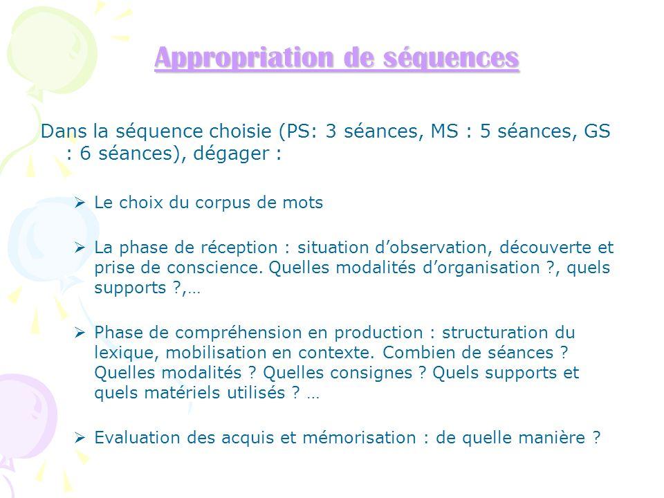 Appropriation de séquences Appropriation de séquences Dans la séquence choisie (PS: 3 séances, MS : 5 séances, GS : 6 séances), dégager : Le choix du