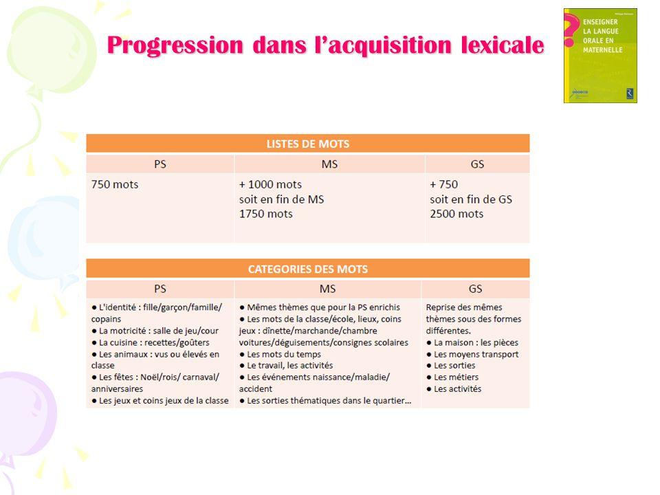 Progression dans lacquisition lexicale