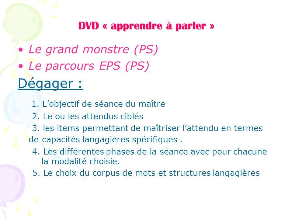 DVD « apprendre à parler » Le grand monstre (PS) Le parcours EPS (PS) Dégager : 1. Lobjectif de séance du maître 2. Le ou les attendus ciblés 3. les i