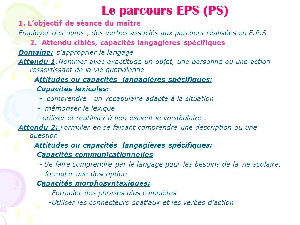 Le parcours EPS (PS) 1. Lobjectif de séance du maître Employer des noms, des verbes associés aux parcours réalisées en E.P.S 2. Attendu ciblés, capaci