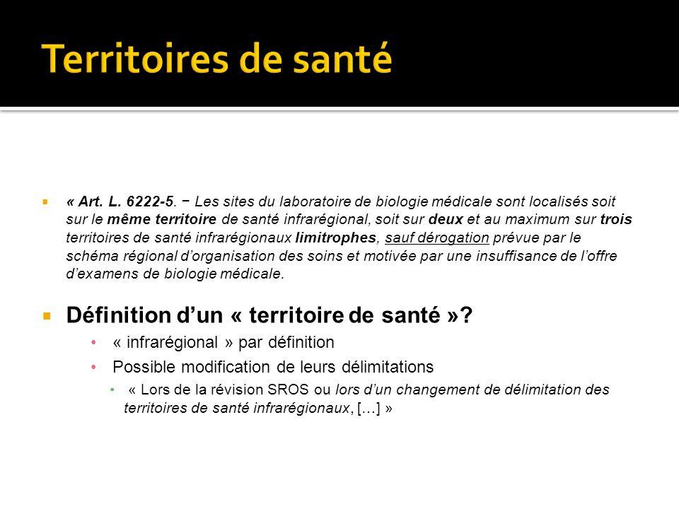 « Art. L. 6222-5. Les sites du laboratoire de biologie médicale sont localisés soit sur le même territoire de santé infrarégional, soit sur deux et au