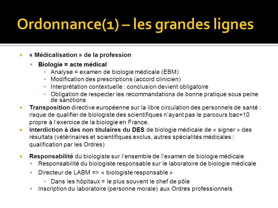 « Médicalisation » de la profession Biologie = acte médical Biologie = acte médical Analyse = examen de biologie médicale (EBM) Modification des presc