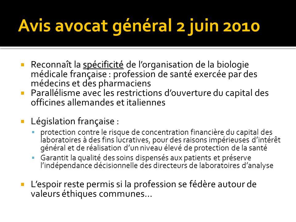 Avis avocat général 2 juin 2010 spécificité Reconnaît la spécificité de lorganisation de la biologie médicale française : profession de santé exercée