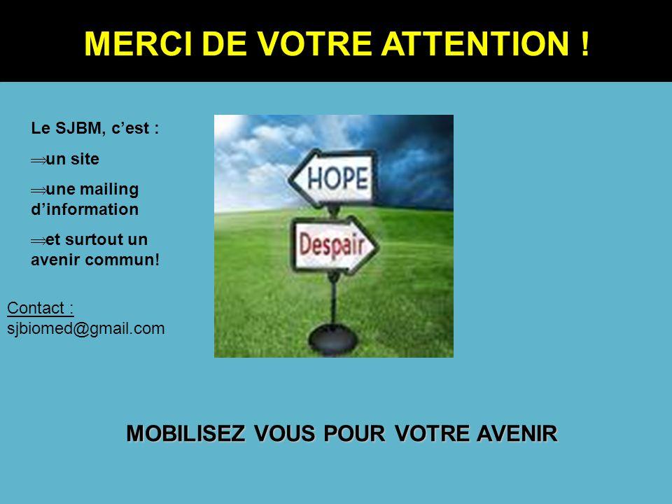 MOBILISEZ VOUS POUR VOTRE AVENIR Contact : sjbiomed@gmail.com MERCI DE VOTRE ATTENTION ! Le SJBM, cest : un site une mailing dinformation et surtout u