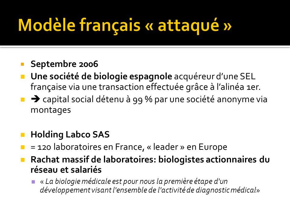 Septembre 2006 Une société de biologie espagnole acquéreur dune SEL française via une transaction effectuée grâce à lalinéa 1er. capital social détenu