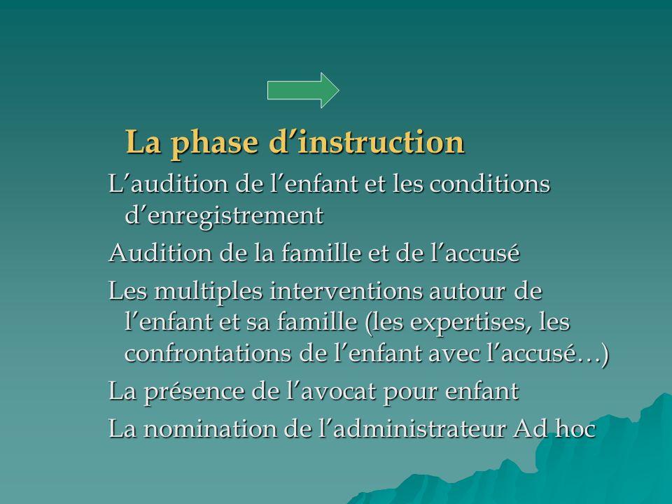 La phase dinstruction Laudition de lenfant et les conditions denregistrement Audition de la famille et de laccusé Les multiples interventions autour d
