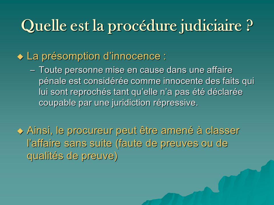 Quelle est la procédure judiciaire ? La présomption dinnocence : La présomption dinnocence : –Toute personne mise en cause dans une affaire pénale est