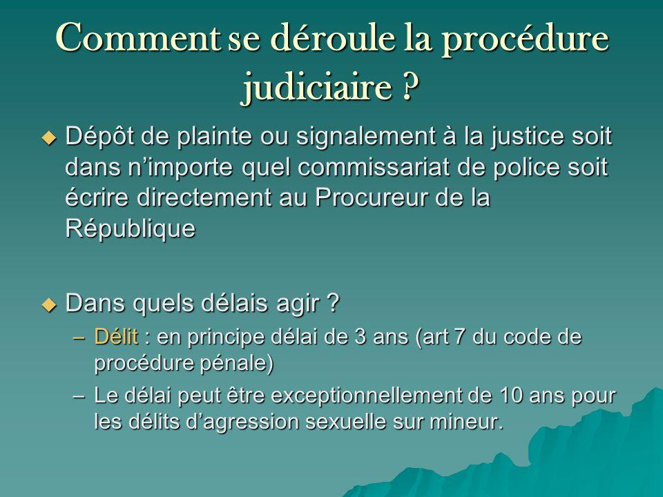 Comment se déroule la procédure judiciaire ? Dépôt de plainte ou signalement à la justice soit dans nimporte quel commissariat de police soit écrire d