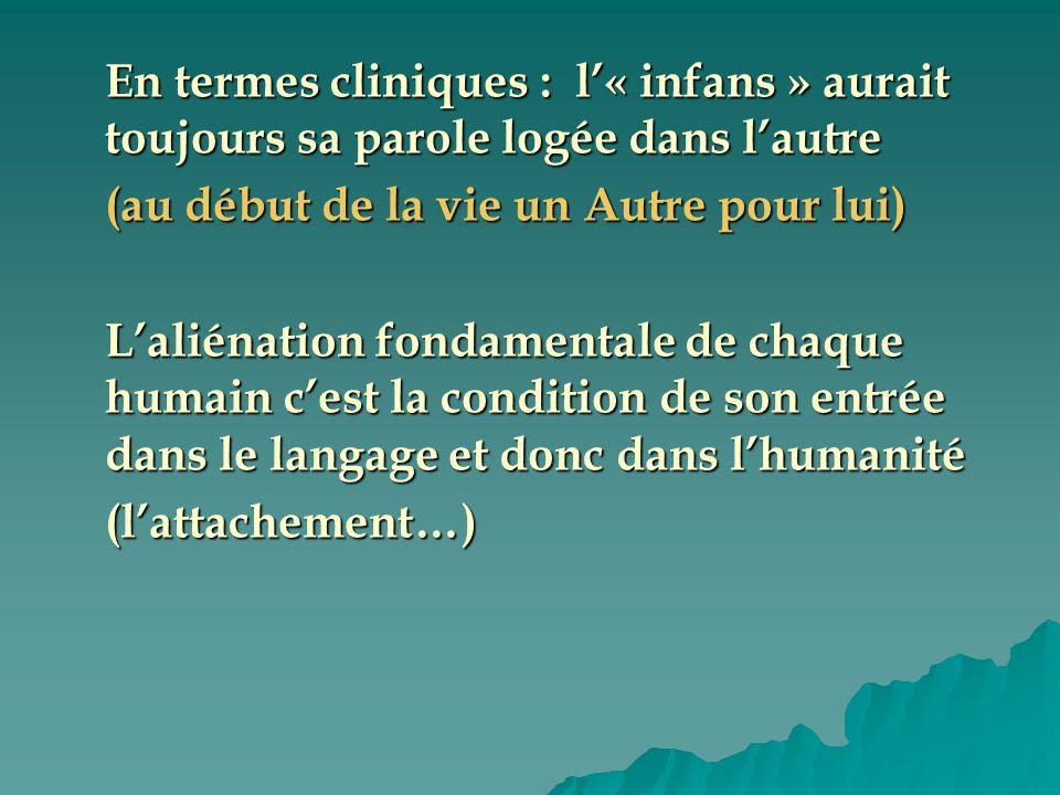 En termes cliniques : l« infans » aurait toujours sa parole logée dans lautre (au début de la vie un Autre pour lui) Laliénation fondamentale de chaqu