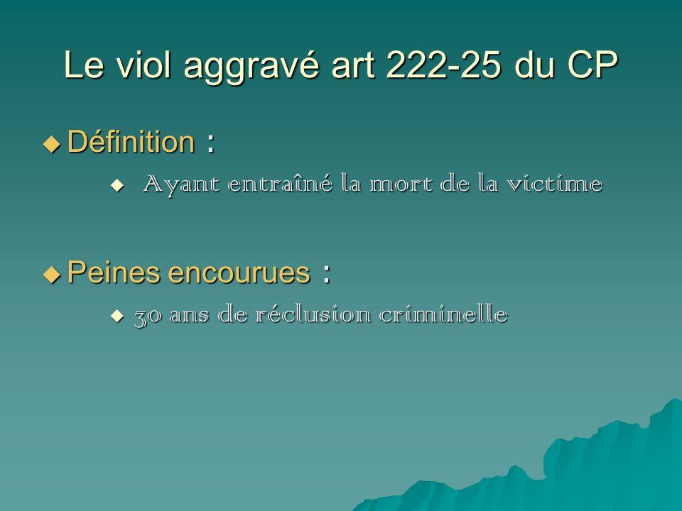 Le viol aggravé art 222-25 du CP Définition : Définition : Ayant entraîné la mort de la victime Ayant entraîné la mort de la victime Peines encourues